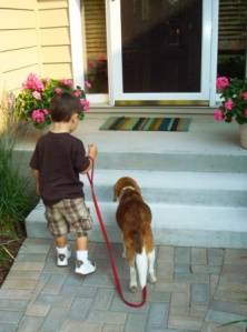 Aiden and his fur-uncle Copper at my parent's house the day before he passed away.