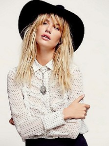 Love this Free People sheer tuxedo shirt - and they had in solid color, too!
